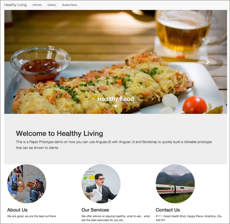Prototyping the Healthy Living website