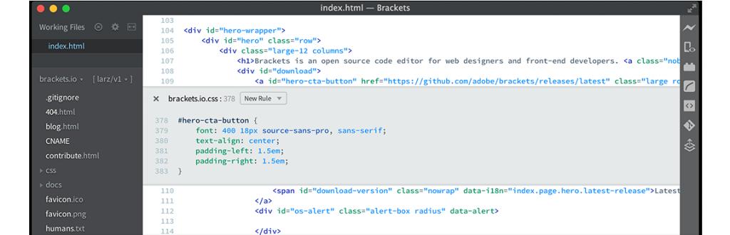 brackets Javascript IDE & javascript editors