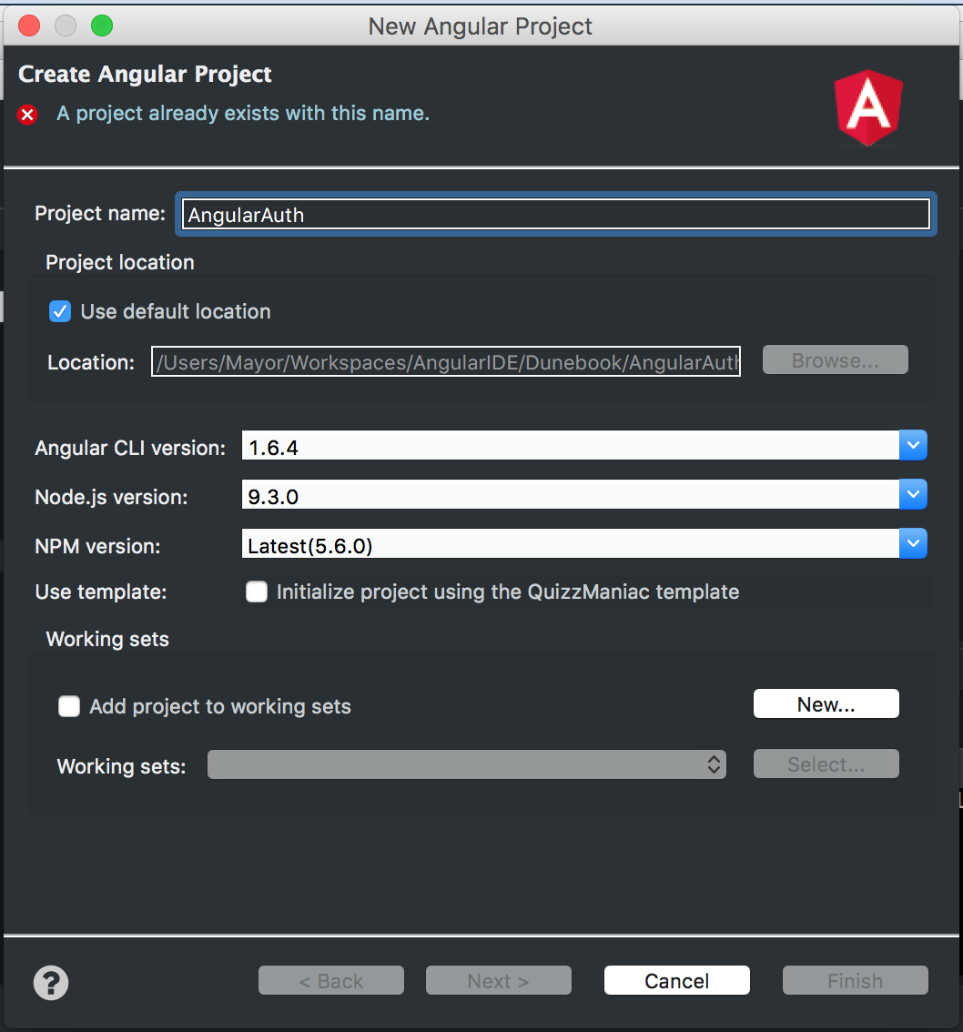 Create a New Angular Project from Angular IDE