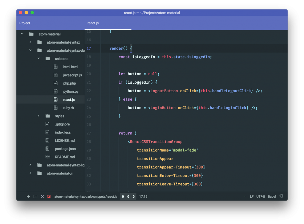 A dark syntax theme for Atom that uses Google's Material Design color palette