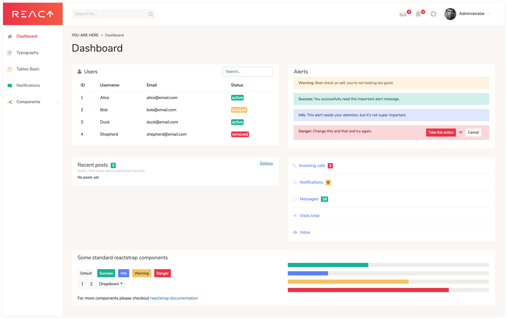 React Dashboard