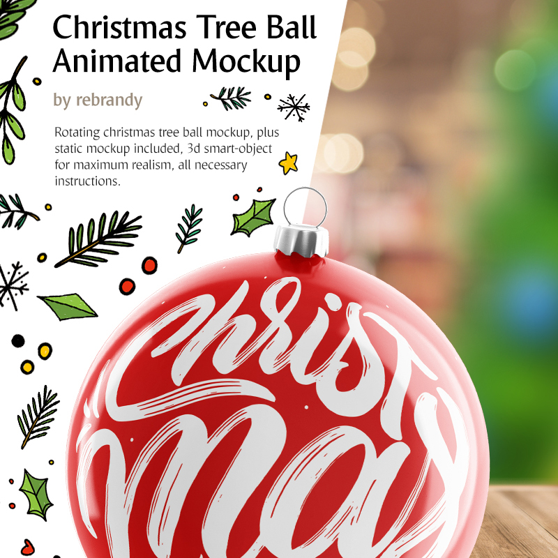 Christmas Tree Ball Animated Product Mockup