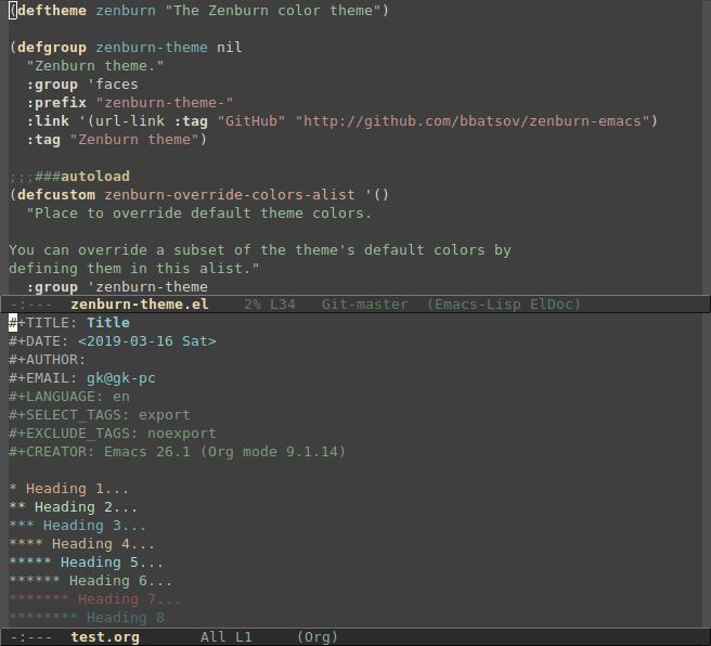 zenburn theme for emacs