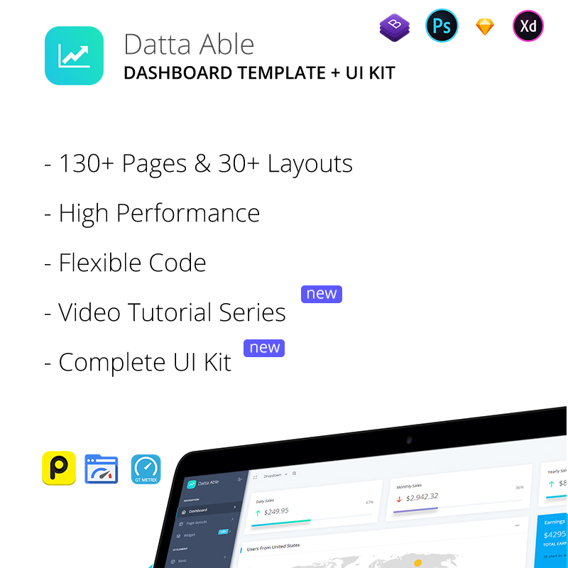 Datta Able admin dashboard