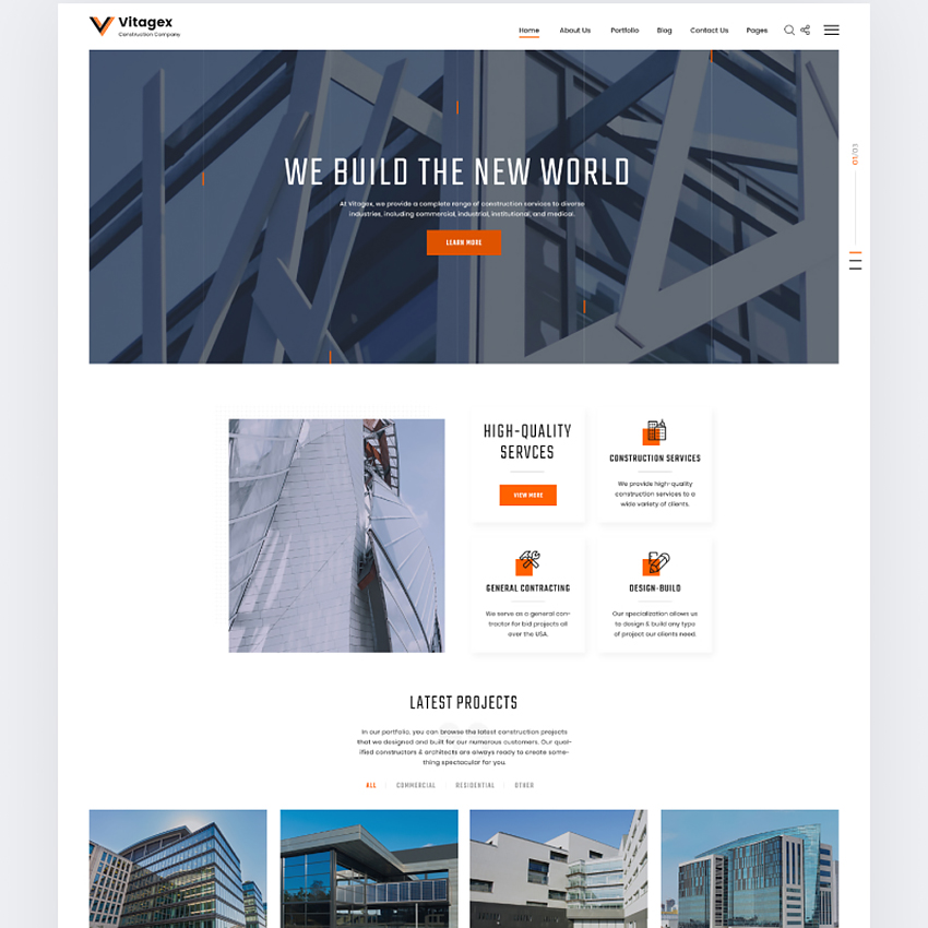 Vitagex Construction Company Website Template