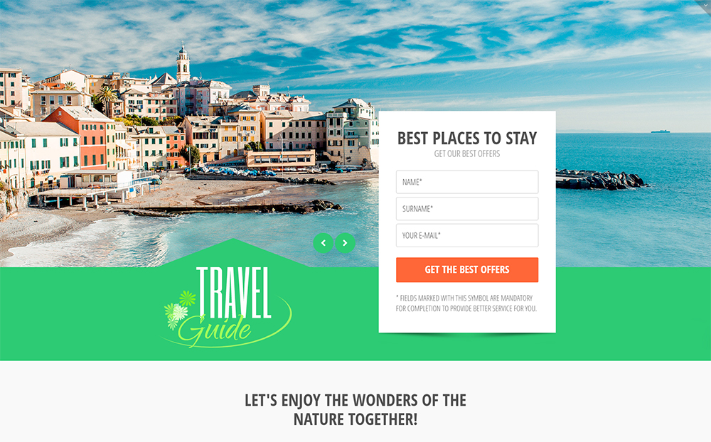 Travel Guide Landing Page HTML5 Template